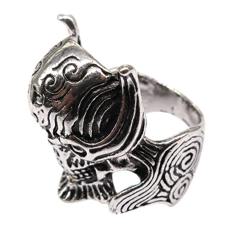 Creative Fashion Ghost Head Huadiao Personality Men Titanium Steel Ring