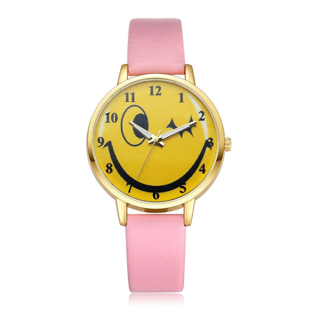 Lovely Casual PU Band Smile Pattern Watch