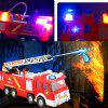 Simulation Fire Truck Model with Omnibearing Swiveling Tube Electric Sprinkler Toy - RED