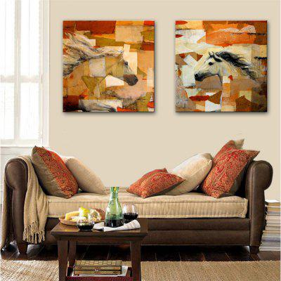 Special Design Frameless Paintings Facing Each Other Print 2PCS