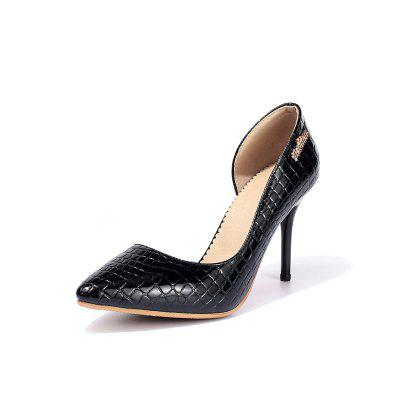Snakeskin Pattern Leisure Work Shoes High-heeled Shoes