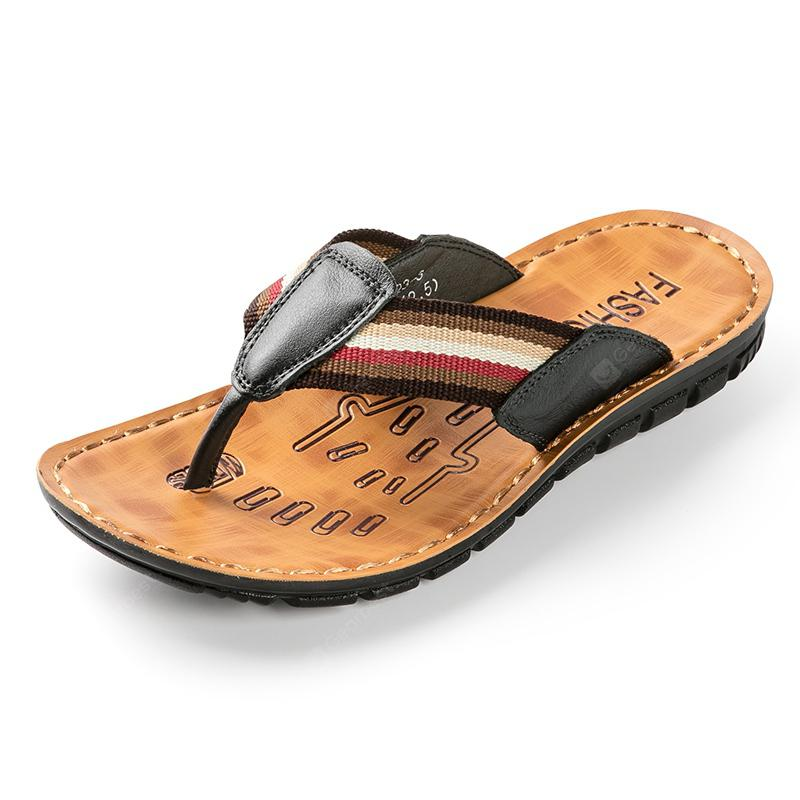 Young Men's Summer New Style Leather Leisure Flip Flops