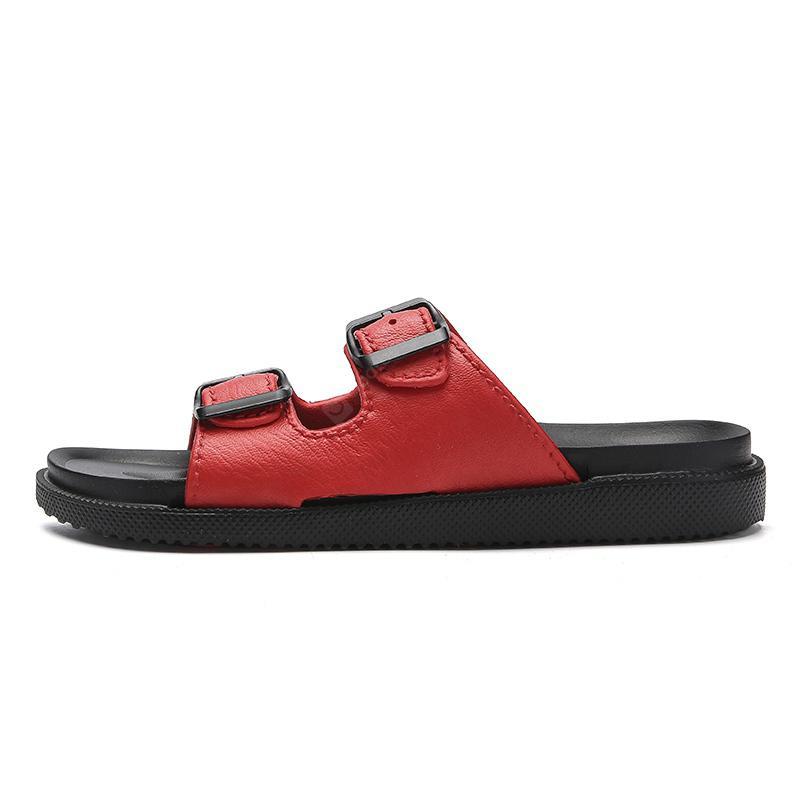 Simple Retro Leather Buckle McGrady Men's Slippers
