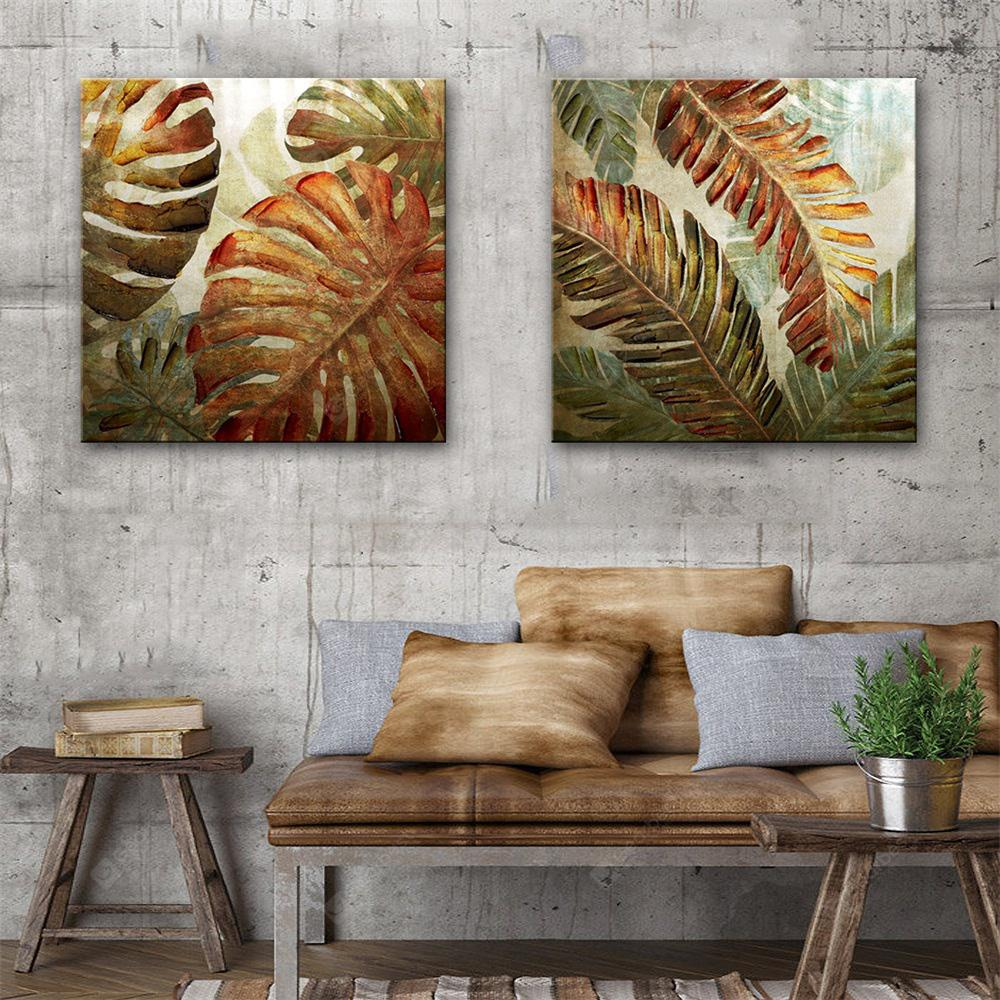 Special Design Frameless Paintings Iron Leaf Print 2PCS