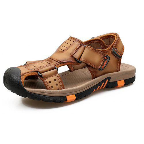 dd1470044c03 ZEACAVA Men Cow Leather Anti-collision Breathable Sole Hook Loop Casual  Sandals