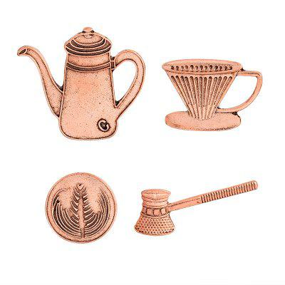 Coffee Cup Series Hand Pot of Filter Coffee Appliances Brooch Set