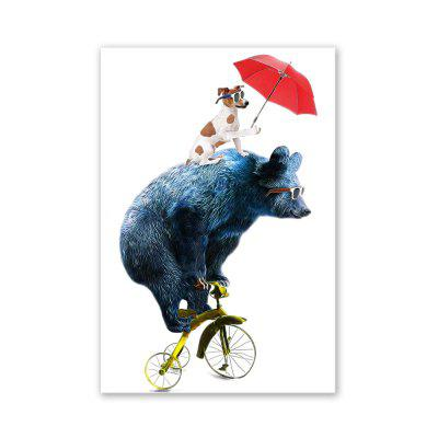 W025 Bear and Dog Unframed Wall Art Canvas Prints for Home Decoration
