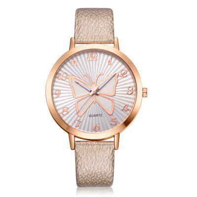 XR2512 Women's Arabic Numerals Analog Quartz Leather Watch with Butterfly Dial