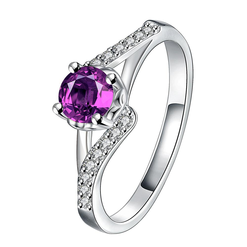 Elegant Silver Plated Zircon Ring Charm Jewelry
