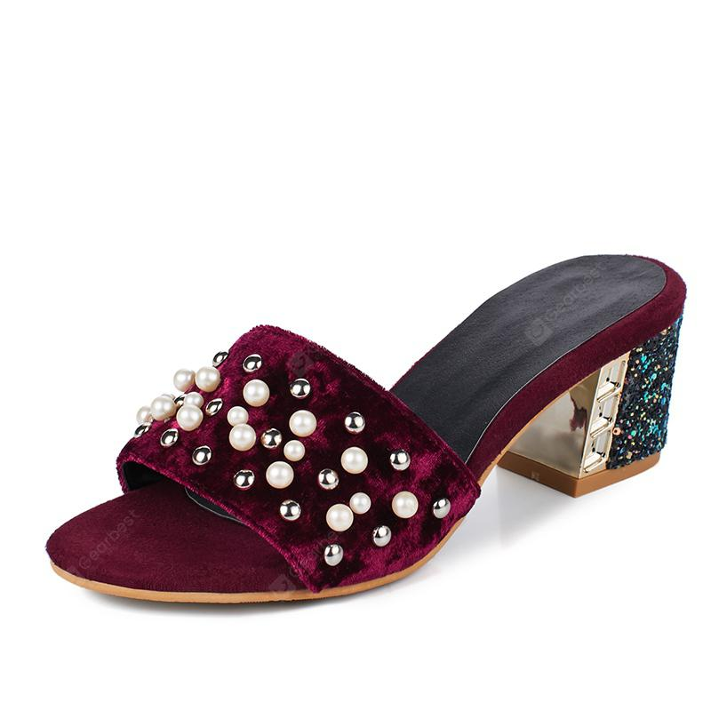Women's Open Toes Slippers Stylish Comfy Pearl Rivets Decor Thick Heel Shoes