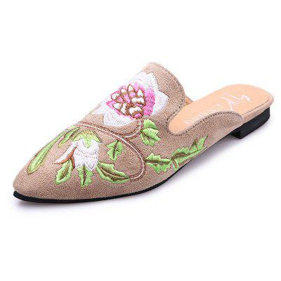 Women's  Pointed Toe Slippers Flower Embroidered Comfy Sweet Ladylike Shoes