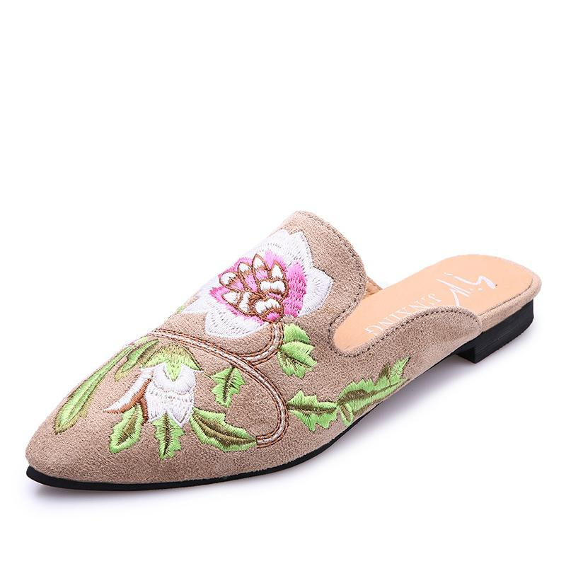 Women's Pointed Toe Slippers Flower Embroidered Comfy Sweet Ladylike Shoes shop for affordable cheap price classic 100% authentic sale online 2015 for sale XMJOyy
