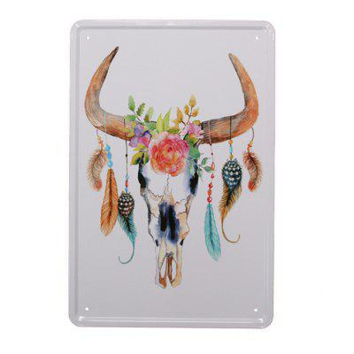Nordic Style Bull Head Pattern Metal Painting for Wall Decor
