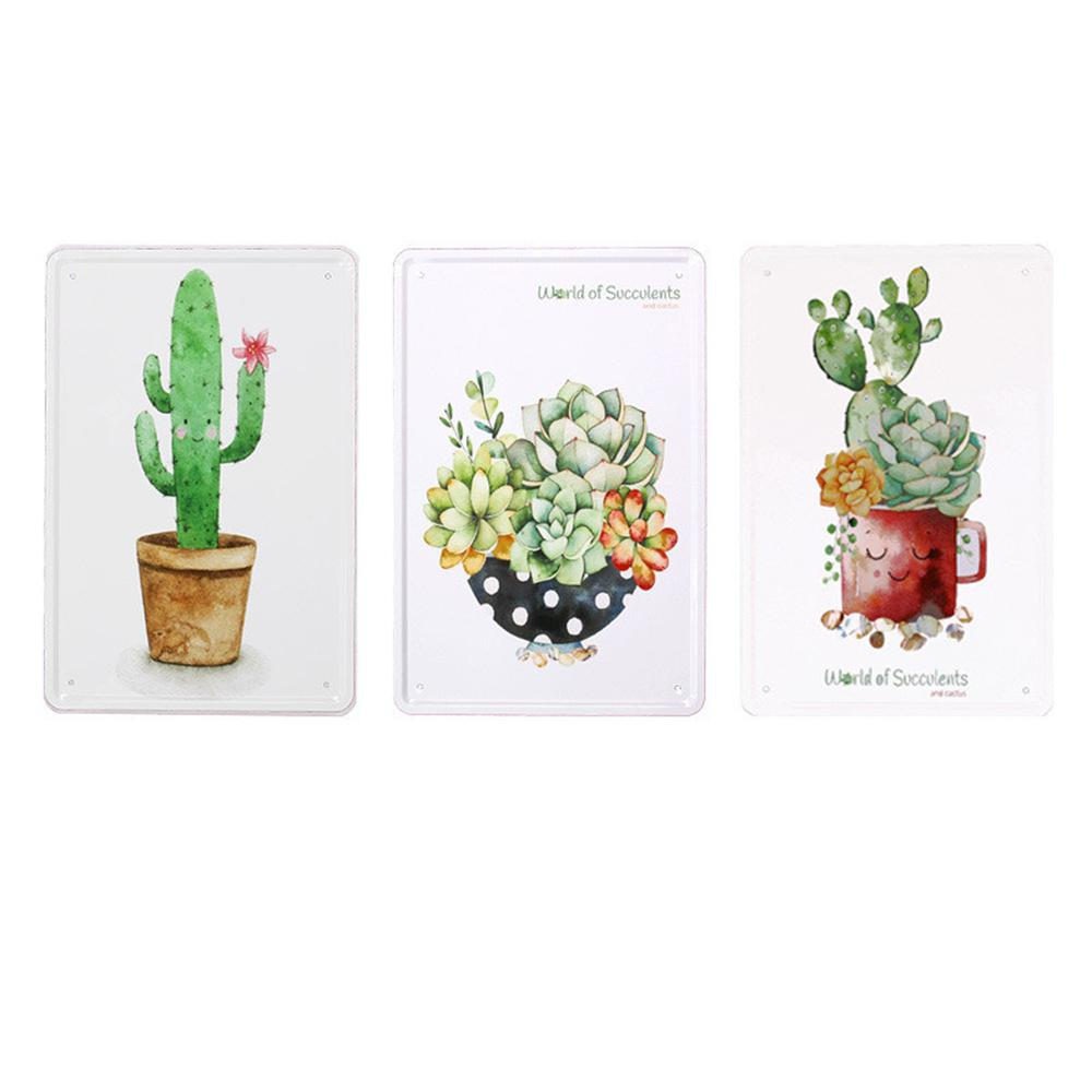 3pcs Nordic Style Plant Pattern Metal Painting for Wall Decor
