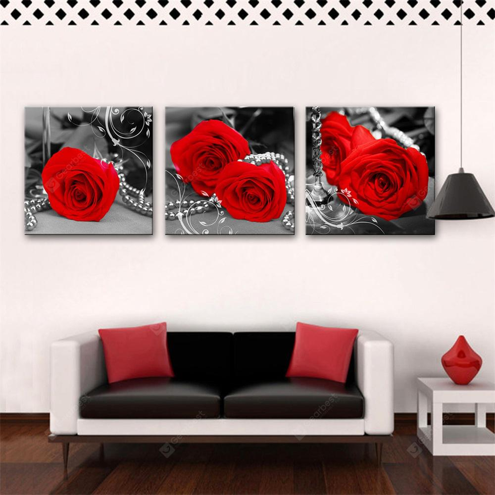 Special Design Frameless Paintings Red Rose Print 3PCS