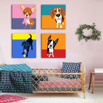 Special Design Frameless Paintings Pet Dog Print 4PCS