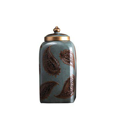 WXQY-16 Home Retro Golden Resin Storage Jar