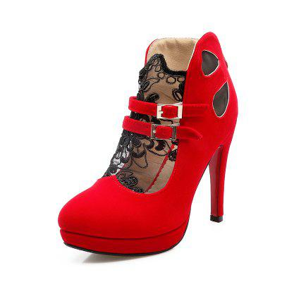 Black Lace Sanding and Breathable High Heeled Shoes