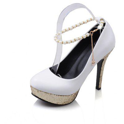 Red Pearl High Heeled Shoes