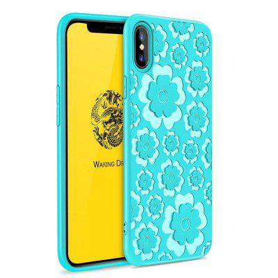 Voor iPhone X 3D Silicon TPU Flower Language Back Covers