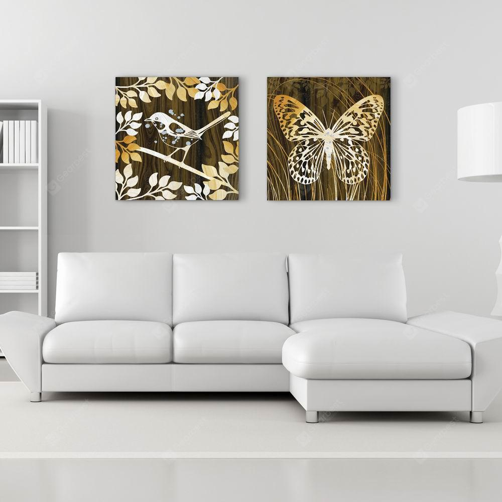 W106 Bird and Butterfly  Unframed Wall Canvas Prints for Home Decorations 2 PCS