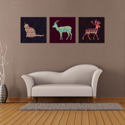 W114 Animals Shape Unframed Art Wall Canvas Prints for Home Decorations 3 PCS
