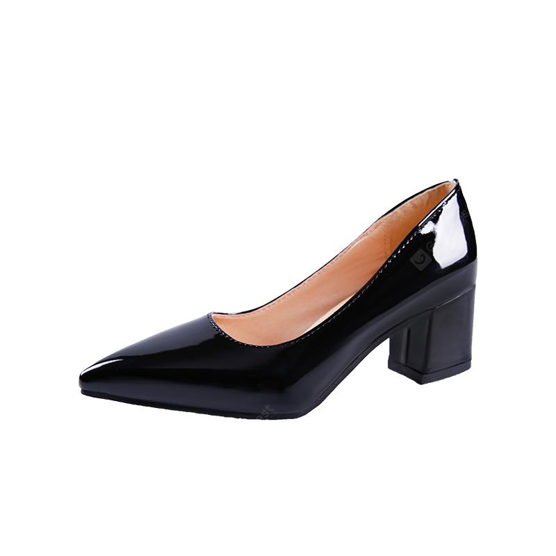 Women's Pointed Toe Pump Patent Leather Simple Design All Match Thick Heel Shoes