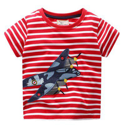 T-shirt de manga curta Jet novo Cartoon infantil
