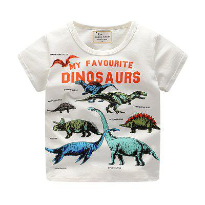 New Boy Dinosaur Cartoon Impresso T-shirt de manga curta