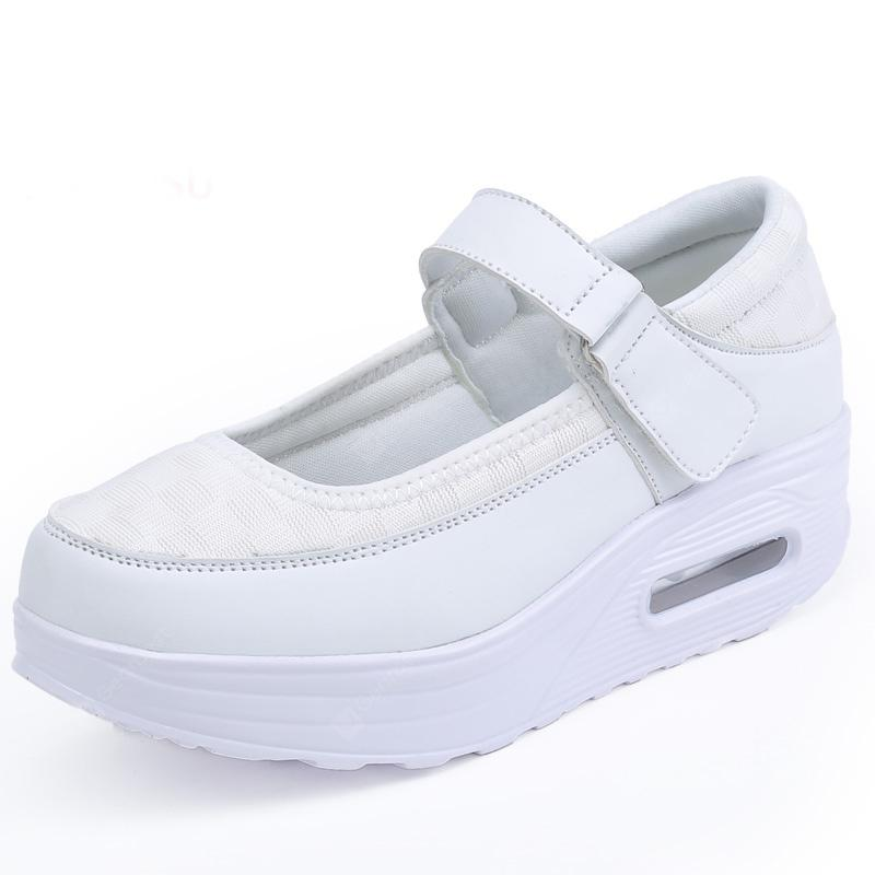 Women Pumps Thick Sole Strap Velcro Design Casual Simple Comfy Shoes