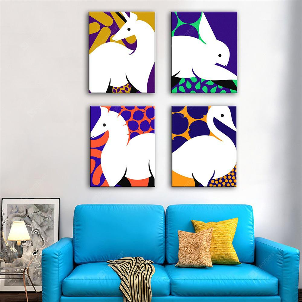 Special Design Frameless Paintings Line Drawing Print 4PCS