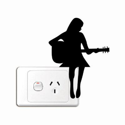 Pretty Girl Playing Guitar Silhouette Vinyl Decal Light Switch Wall Mural