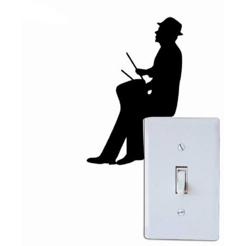 Customized Wall Stickers Removable Music Man Playing Drum Light