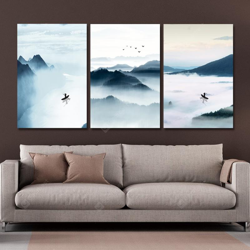 MY43-XDZS - 200-201-202 3PCS Water Fisherman Landscape Painting Print Art