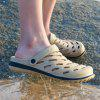 Slip On Men Beach Slippers Summer Rubber Sandals Flip Flops Hole Shoes - ARMY BROWN