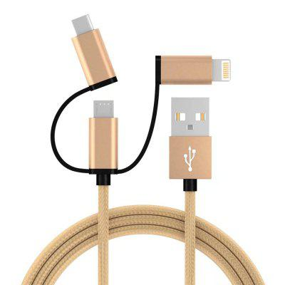 3 In 1 Micro USB and for iPhone and Type -C Weave Data Fast Charging Cable