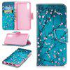 Case for Huawei P20 Blue Plum Pattern PU Leather Wallet - BLUE