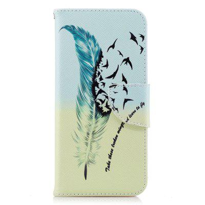 Case for Huawei P20 Blue Feather Pattern PU Leather Wallet