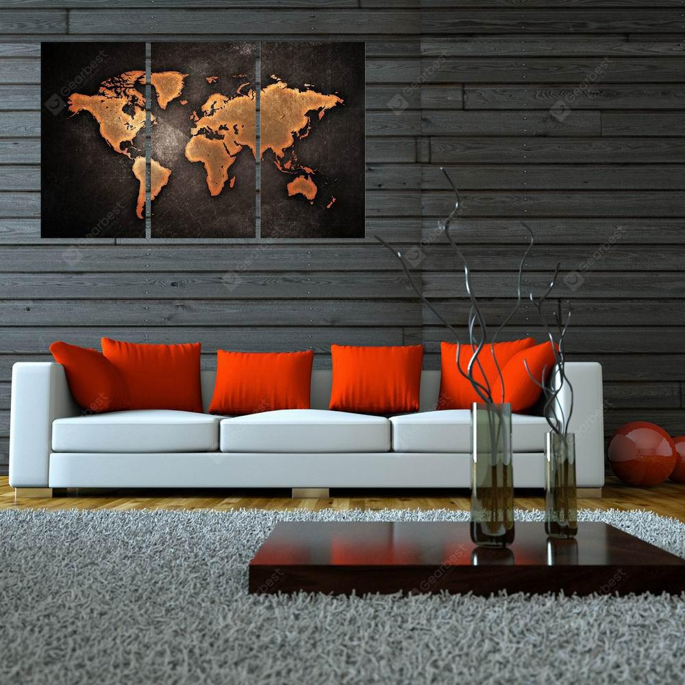 W010 World Map Art Wall Canvas Prints for Home Decorations 3 PCS