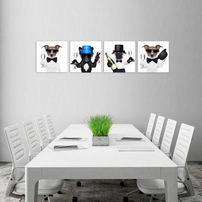 W047 Funny Dogs Unframed Art Wall Canvas Prints for Home Decorations 4 PCS