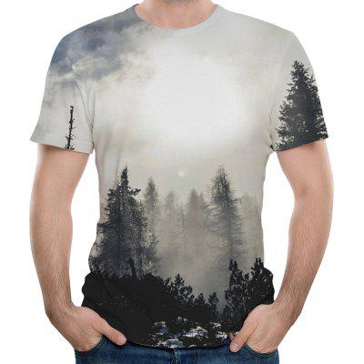 Summer Casual Fashion Photography Landscape Print Men's Short Sleeve T-shirt