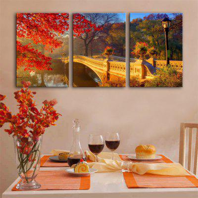 Special Design Frameless Paintings Fall sun Print 3PCS