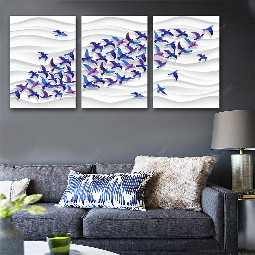 Special Design Frameless Paintings Flocks of Swallows Print 3PCS