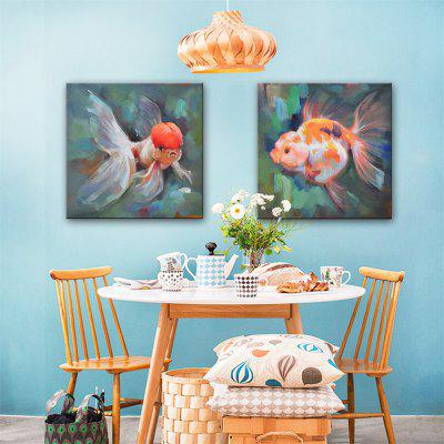 Special Design Frameless Paintings Goldfish Print 2PCS