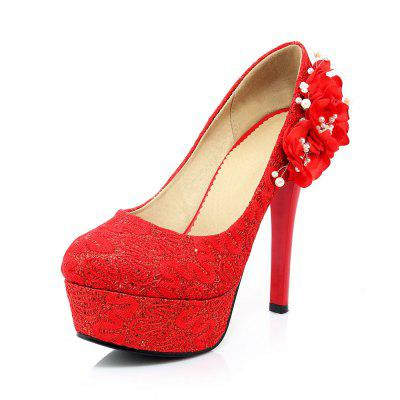 Red Lace and High Heel Shoes