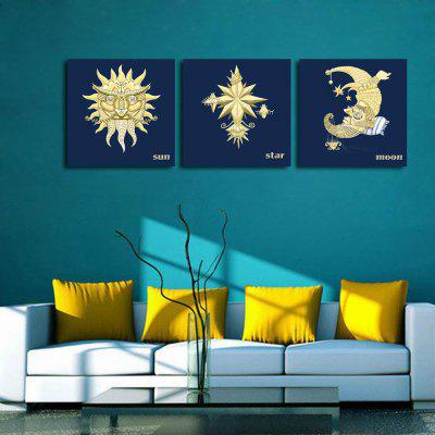 W126 Sun Moon Star Unframed Art Wall Canvas Prints for Home Decorations 3 PCS