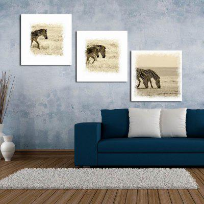 W127 Zebras Unframed Art Wall Canvas Prints for Home Decorations 3 PCS