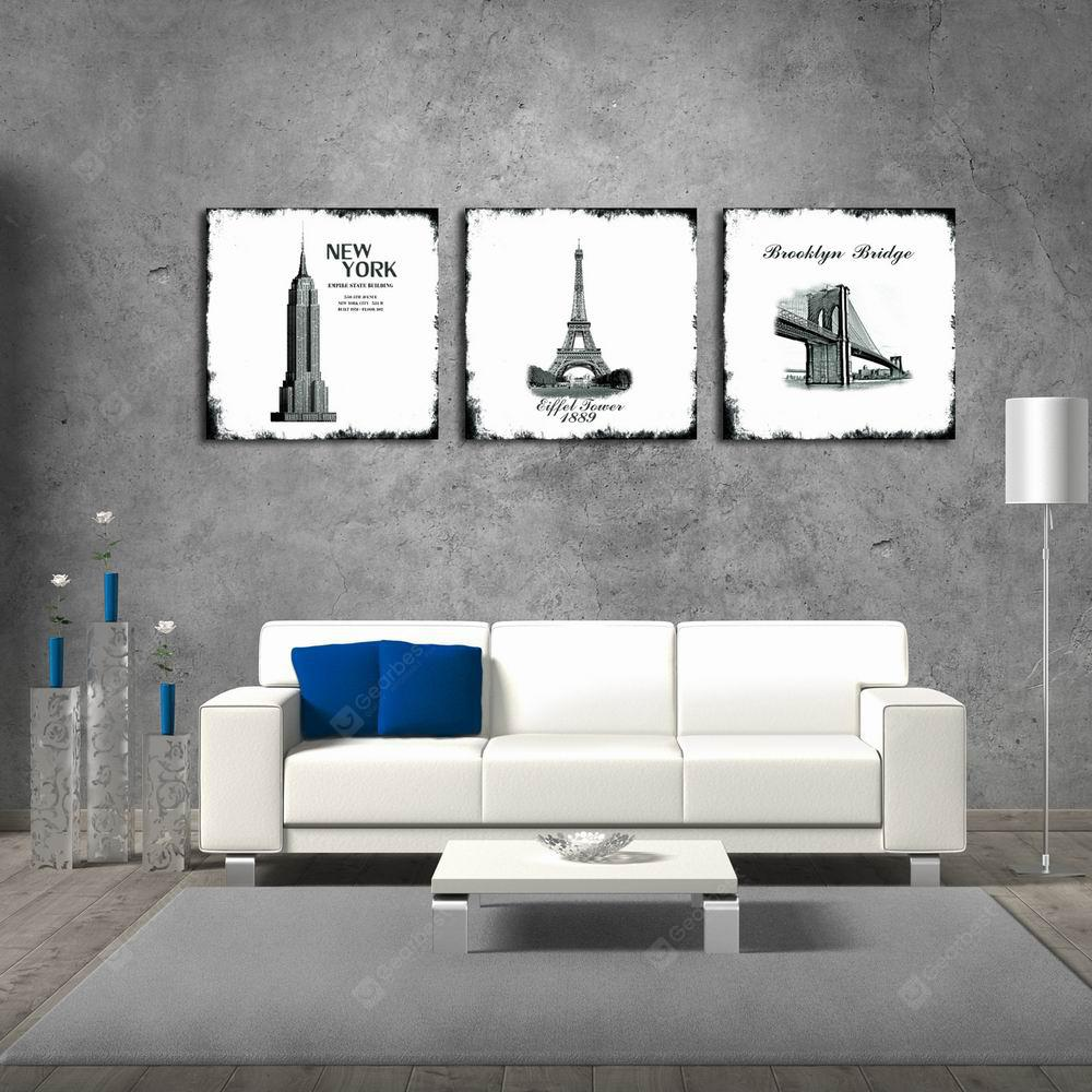 W132 Buildings Unframed Art Wall Canvas Prints for Home Decorations 3 PCS