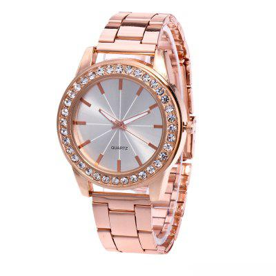Fashionable Artificial Diamond-encrusted Business Quartz Watch