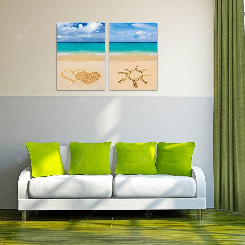 W142 Beach Unframed Wall Canvas Prints for Home Decorations 2 PCS